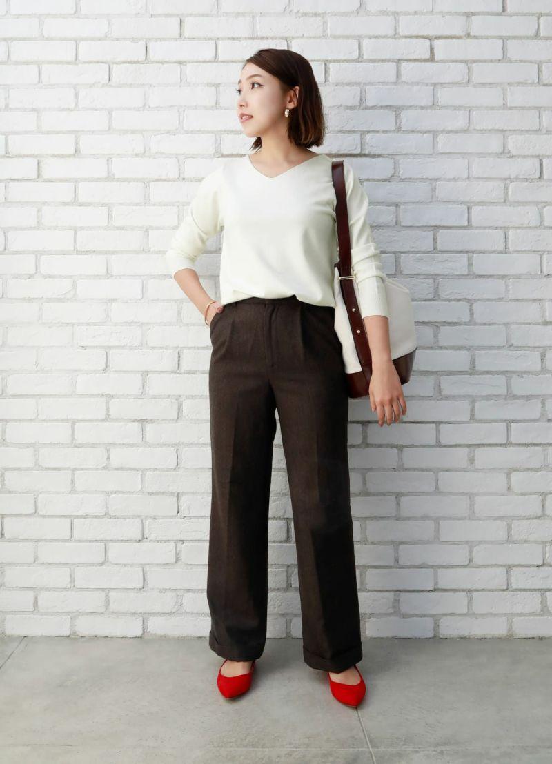 ウールタッチヘリンボーンセミワイドパンツ【OUTLET】