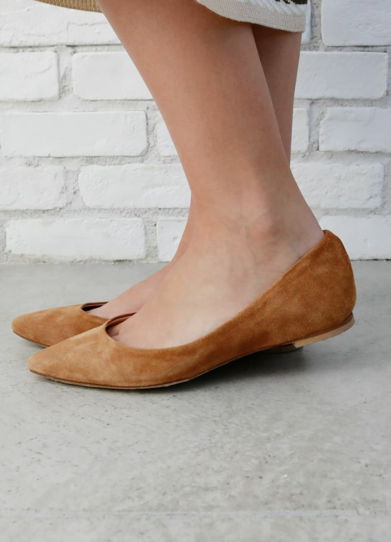【Lflats'Arianna】03-suede pointed toe【OUTLET】