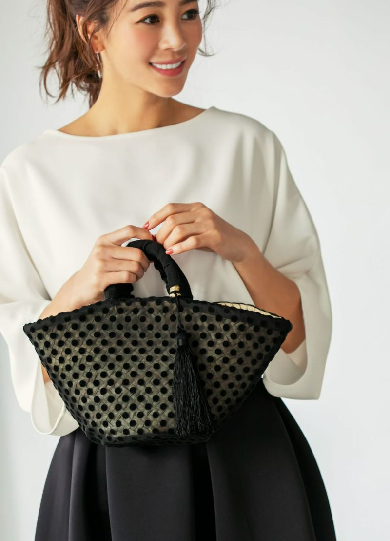 【MAISON CONNIE】03-see-through dots wrap basket bag