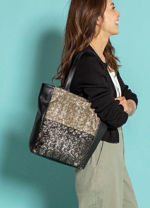 【MAISON CONNIE】07-spangle leather tote bag