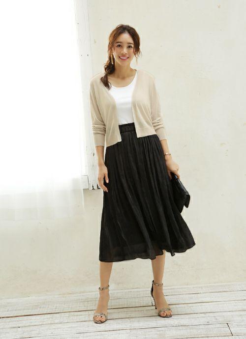 【Made in JAPAN】グロッシーサテンギャザースカート