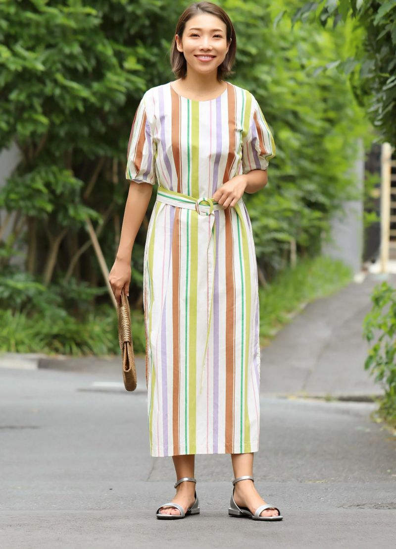 【OUTLET】【LUXE】マルチストライプ柄ワンピース