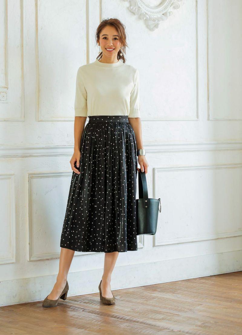 【Made in JAPAN】グロッシーサテンドット柄スカート
