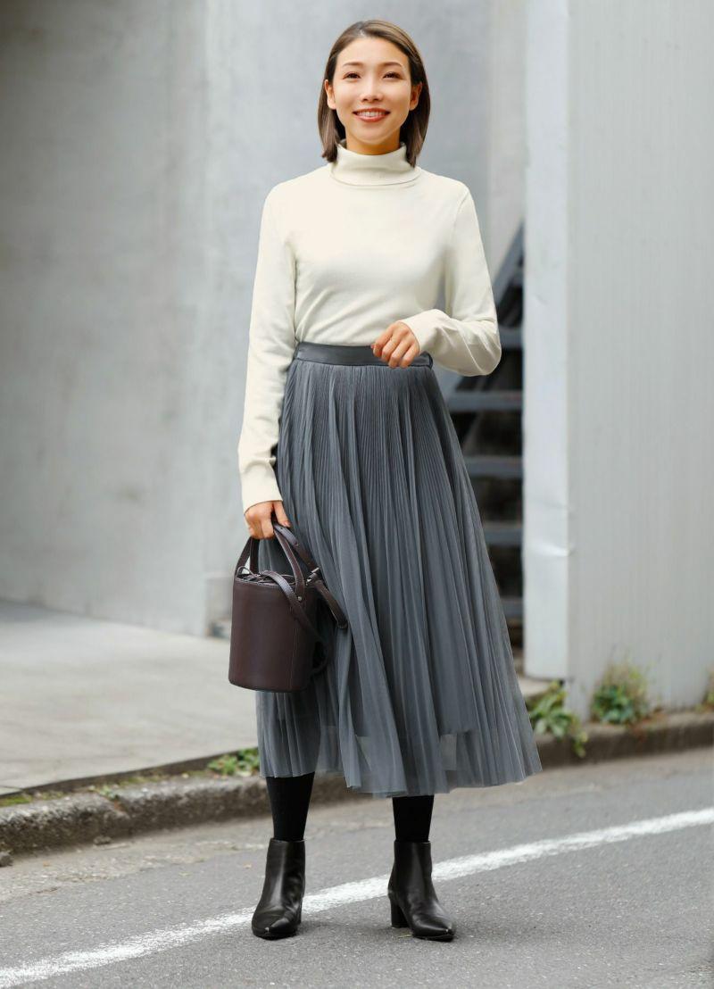 【Made in JAPAN】プリーツチュールミモレ丈スカート
