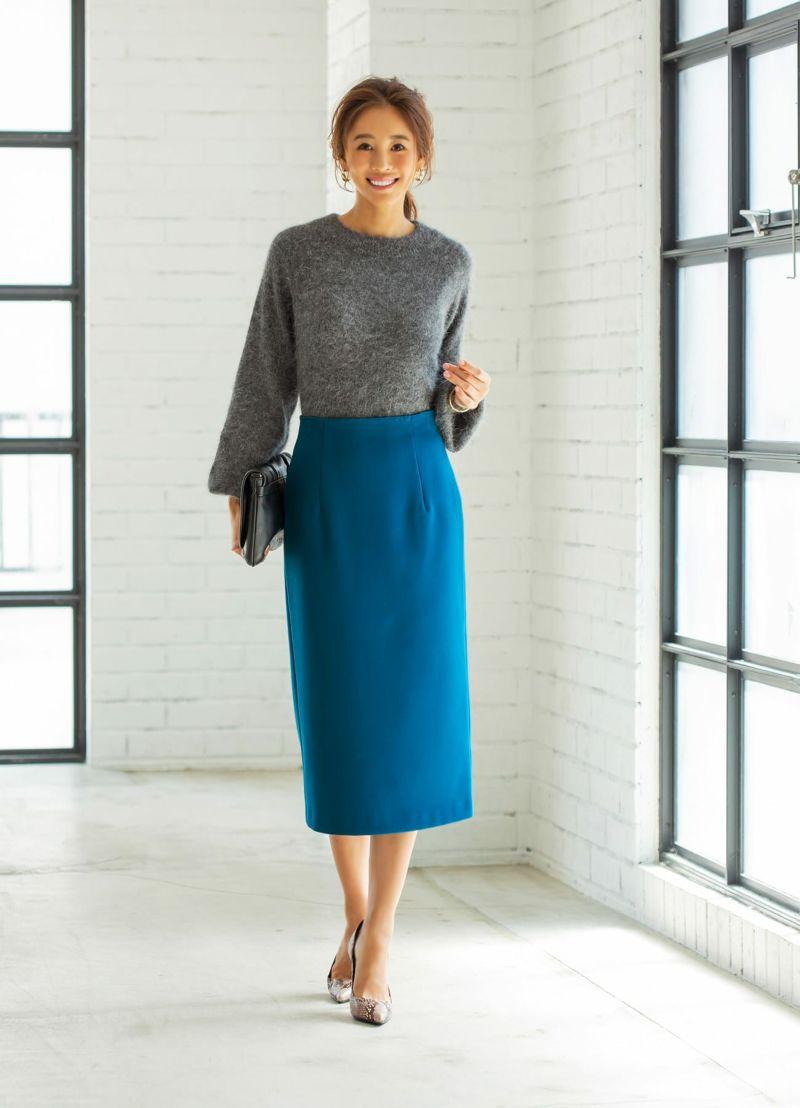 【Made in JAPAN】ウール混ブルー色ペンシルスカート