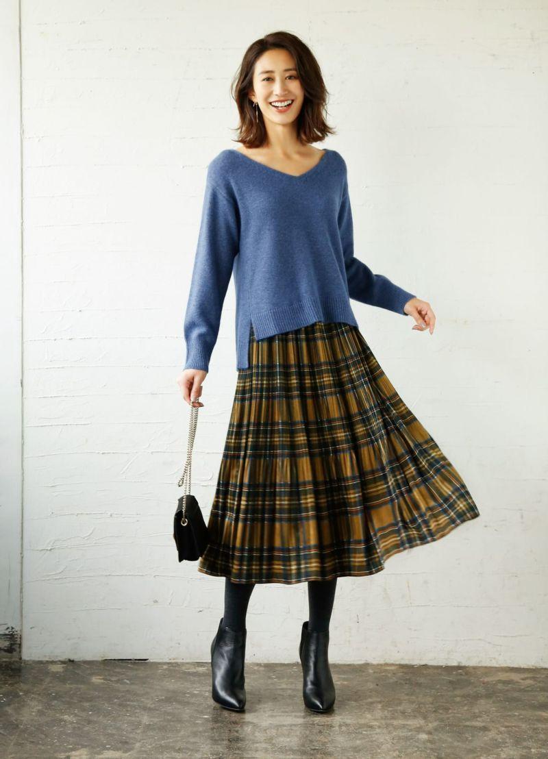 【LUXE】タータンチェック柄プリーツスカート