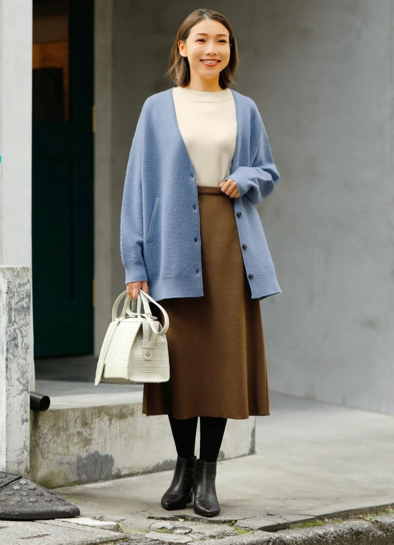 【LUXE】厚地ウールAラインロングスカート
