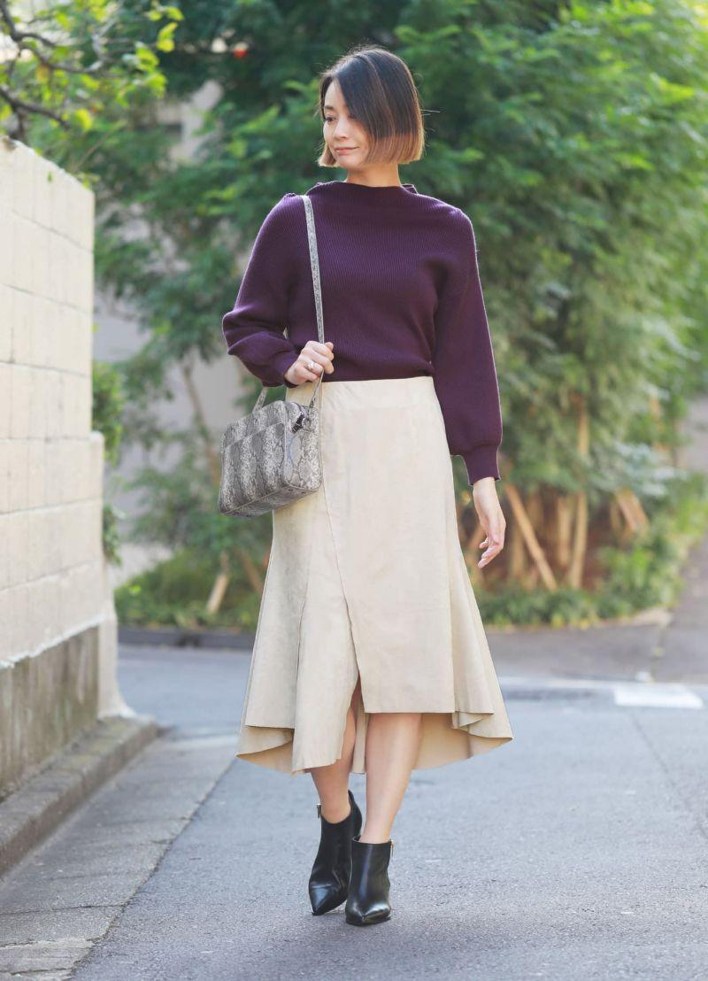 裾デザインエコスエードスカート【OUTLET】