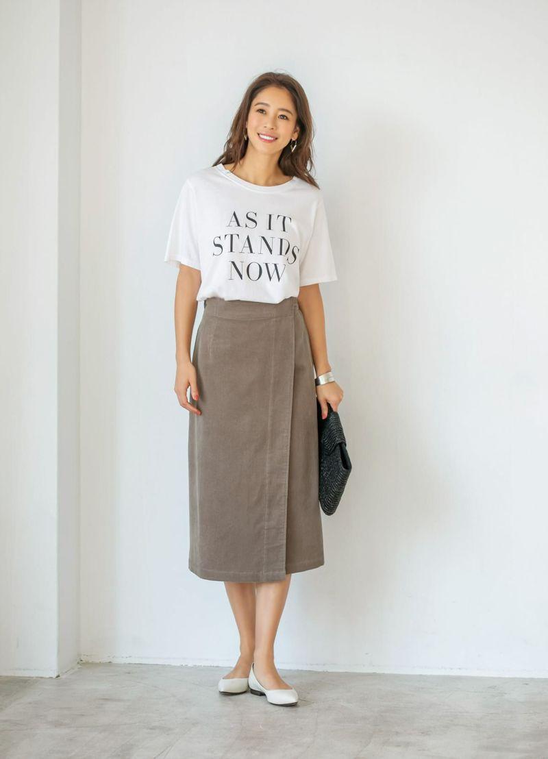 ライトコーデュロイラップスカート