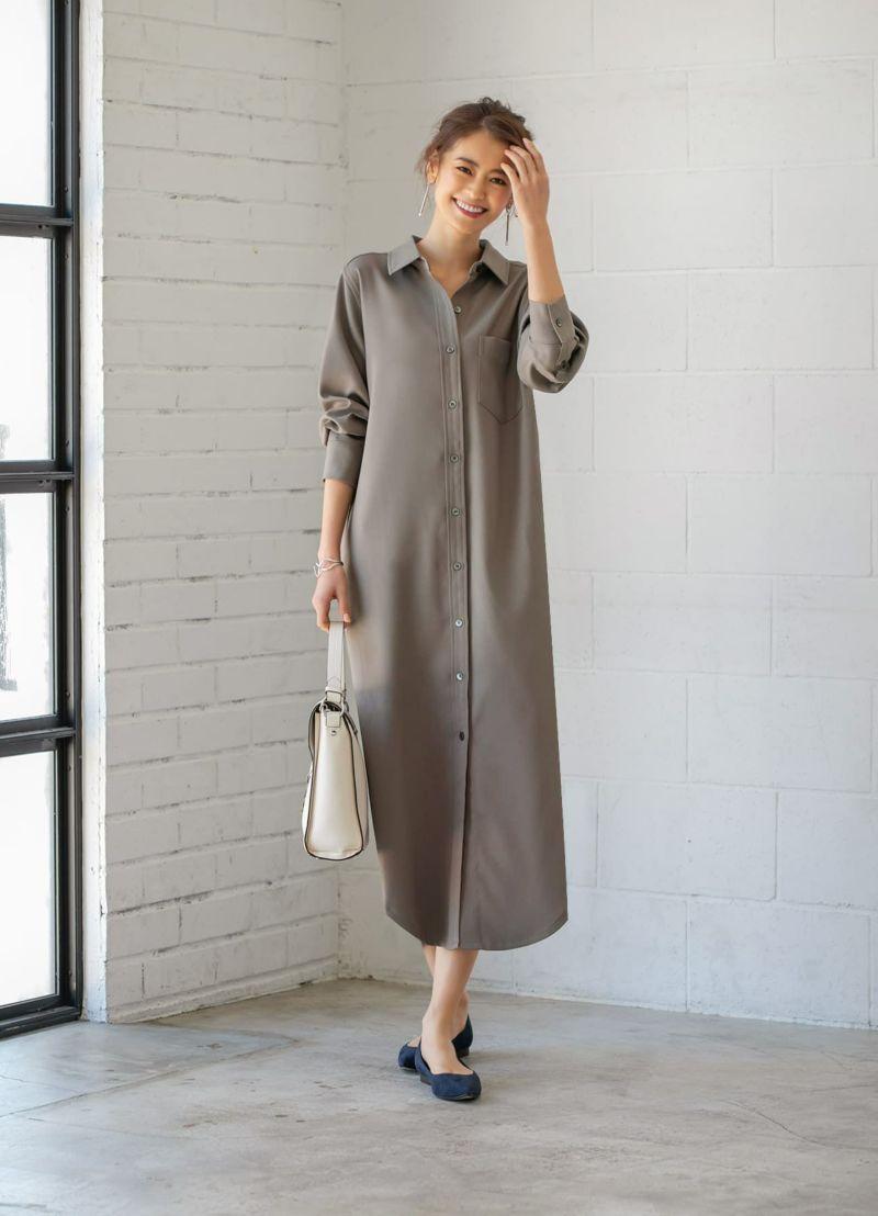 綾織り生地ロングシャツワンピース