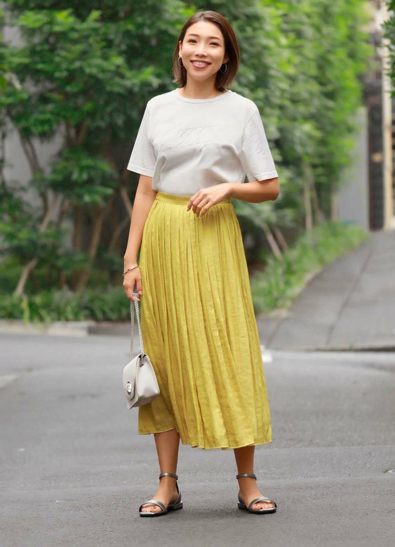 【Made in JAPAN】V.サテンミディ丈ギャザースカート
