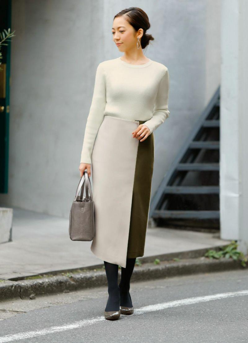 【SD OFFICE】二重織りカラーポイントスカート/Made in JAPAN