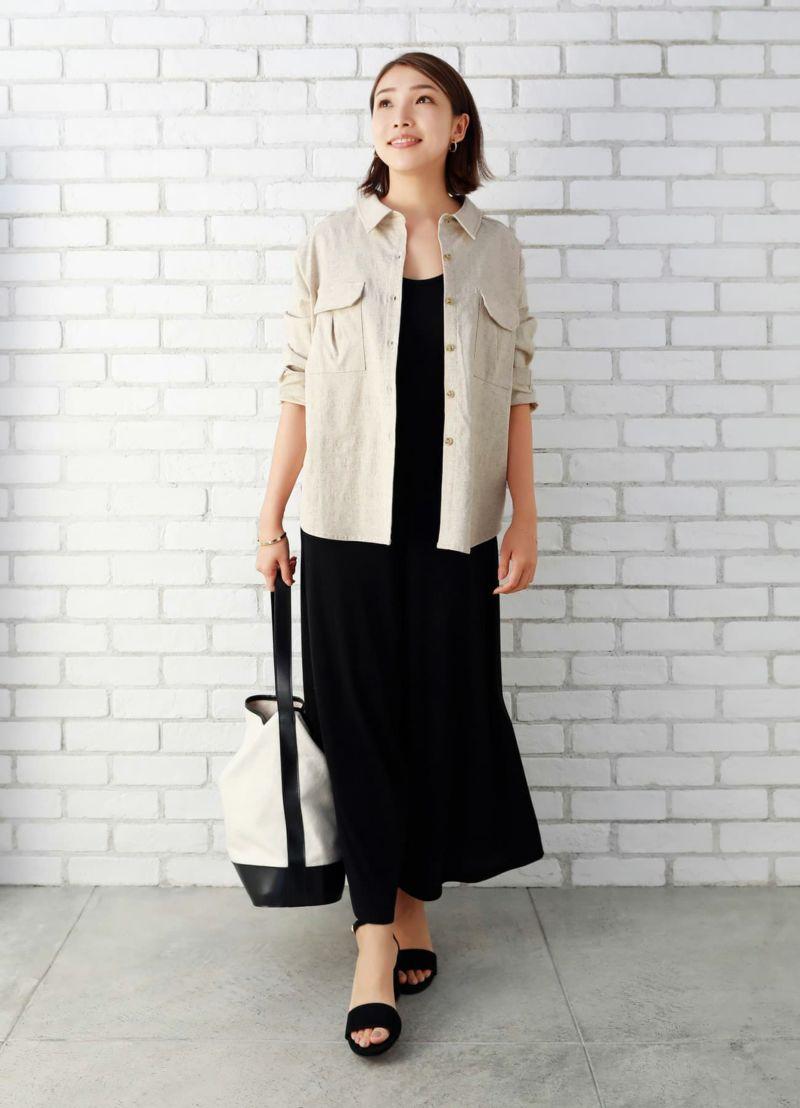 トレッチコットンリネン羽織りシャツ【OUTLET】