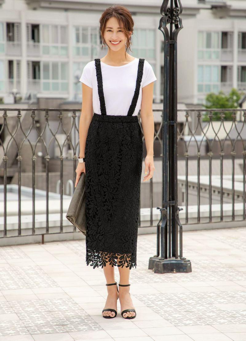 【LUXE】クラッシーレースサロペットスカート