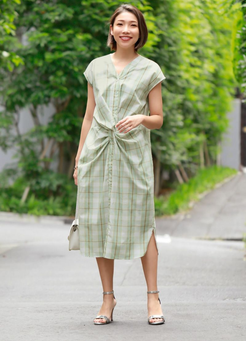【LUXE】ウエストツイストシャツワンピース【OUTLET】