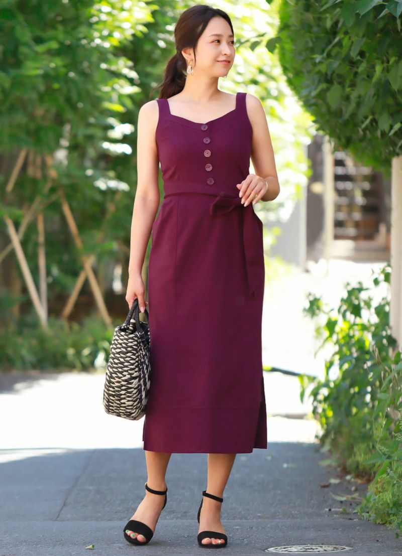 【LUXE】リネン混リゾートサマードレス【OUTLET】