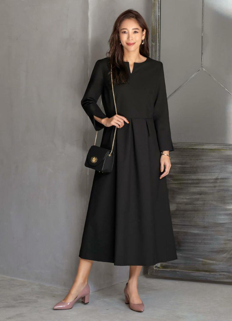 【Made in JAPAN】長袖ネオリトルブラックドレス