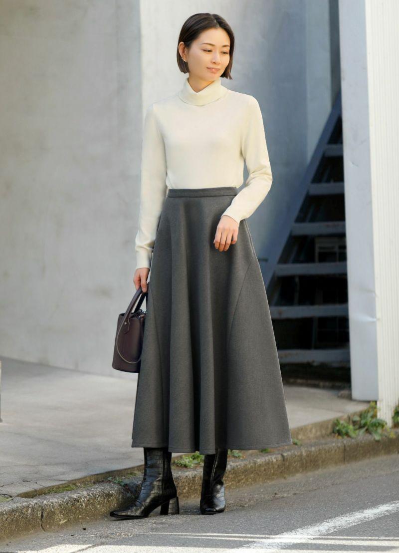 90cm丈フェルトタッチフレアスカート【OUTLET】