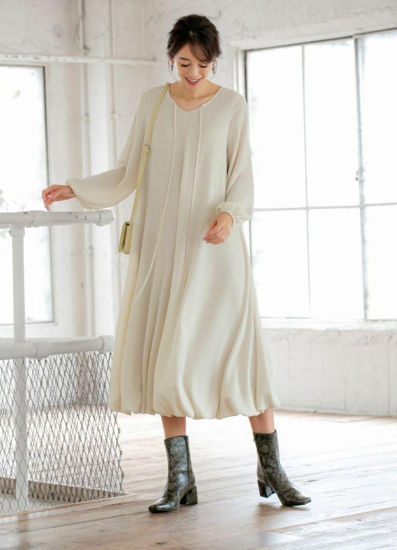 【LUXE】楊柳ボリューム裾バルーンワンピース