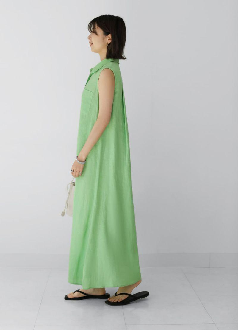 【LUXE】リネン100%ノースリーブシャツドレス