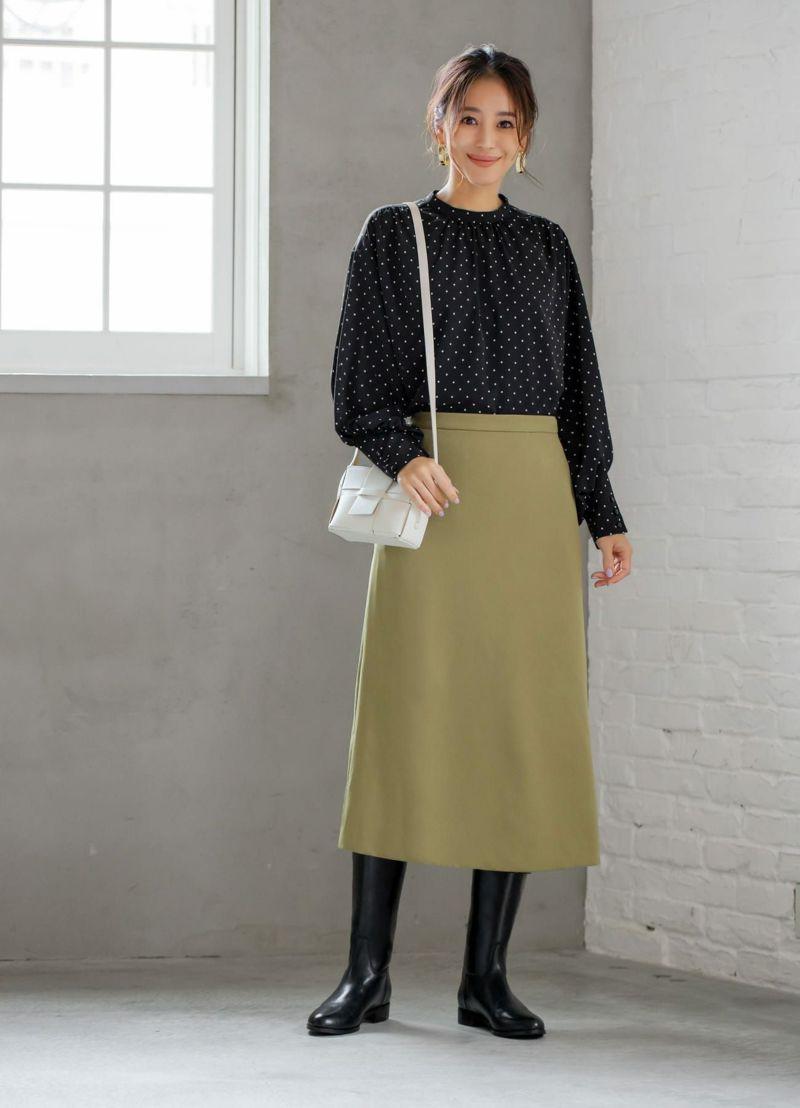 【LUXE】76cm丈ダブルクロスAラインスカート